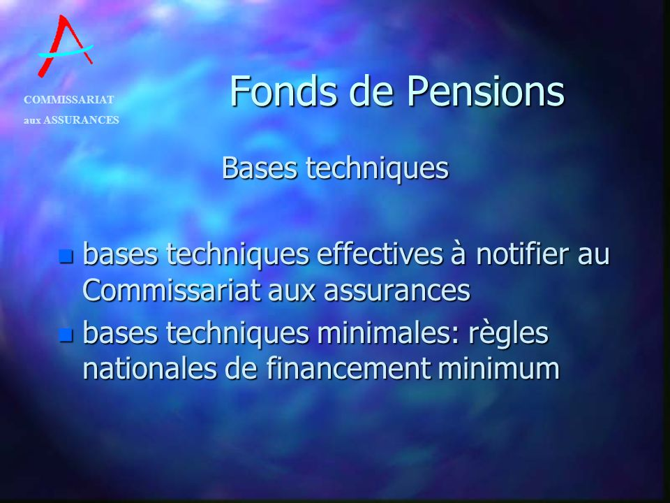Fonds de Pensions Bases techniques