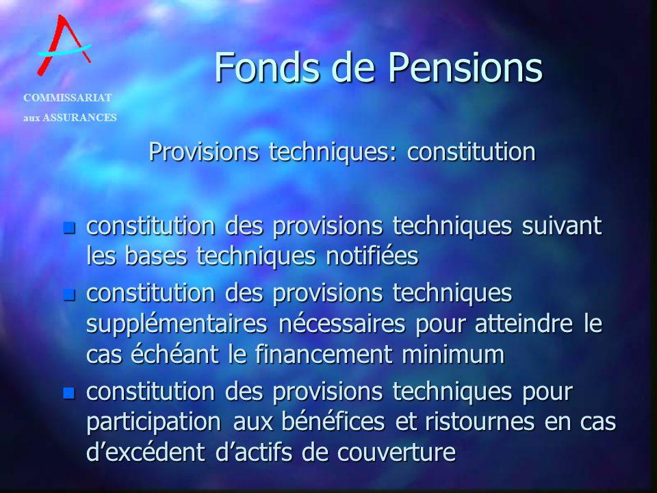 Provisions techniques: constitution