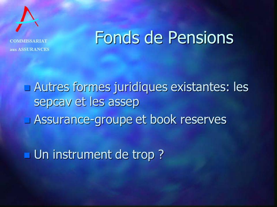 Fonds de Pensions Autres formes juridiques existantes: les sepcav et les assep. Assurance-groupe et book reserves.