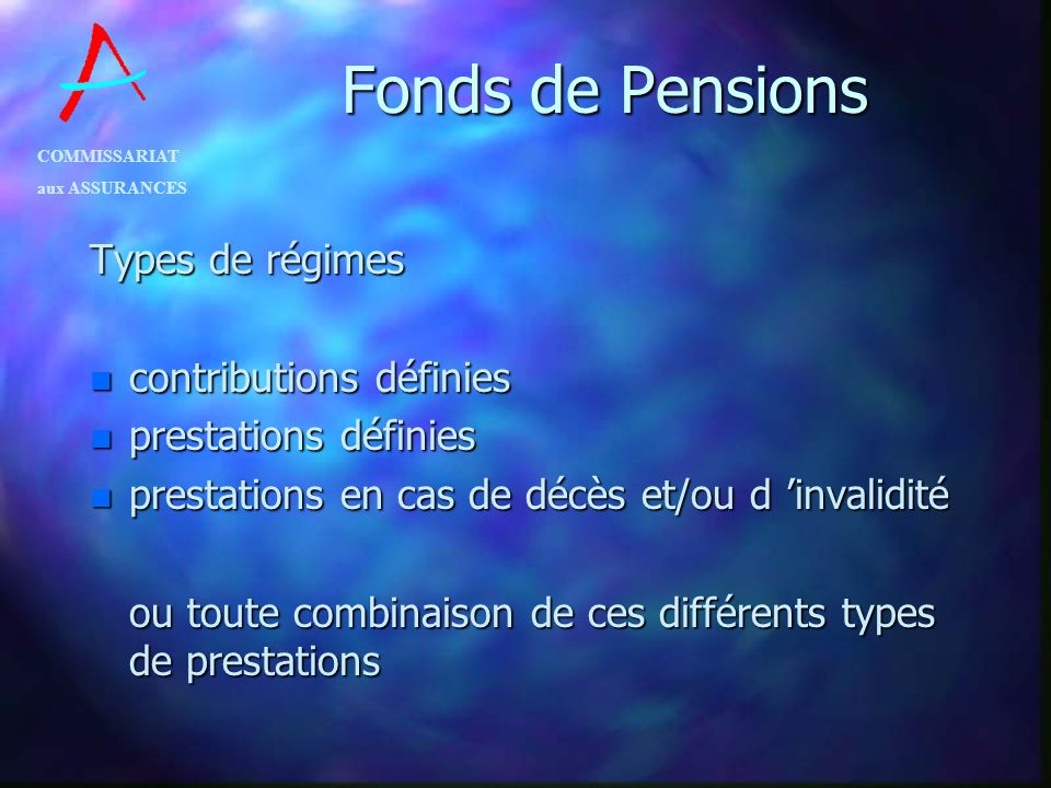 Fonds de Pensions Types de régimes contributions définies