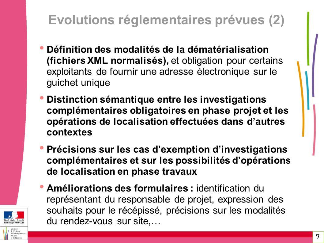 Evolutions réglementaires prévues (2)