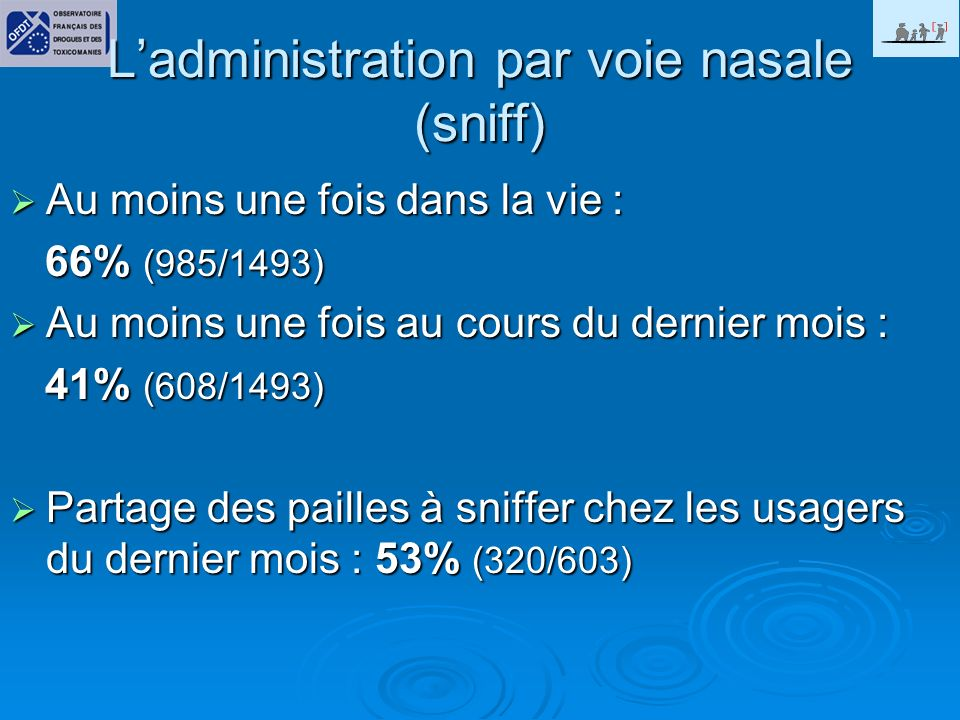 L'administration par voie nasale (sniff)