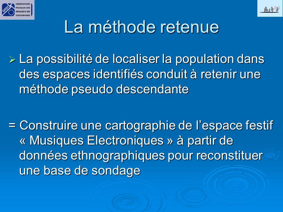 La méthode retenue La possibilité de localiser la population dans des espaces identifiés conduit à retenir une méthode pseudo descendante.