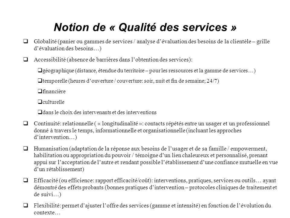 Notion de « Qualité des services »