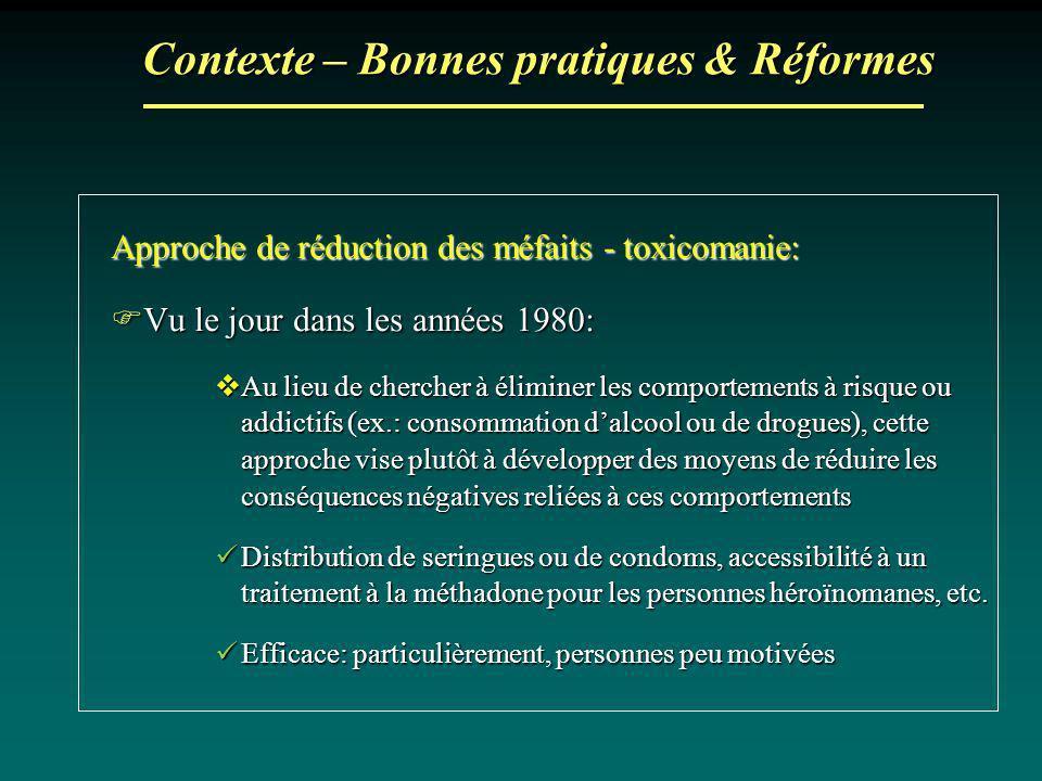 Contexte – Bonnes pratiques & Réformes