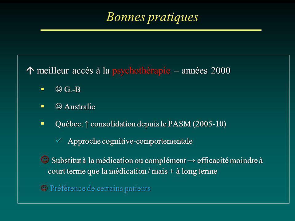 Bonnes pratiques  meilleur accès à la psychothérapie – années 2000