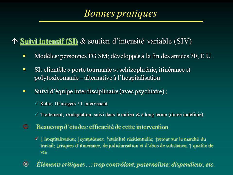 Bonnes pratiques  Suivi intensif (SI) & soutien d'intensité variable (SIV) Modèles: personnes TG.SM; développés à la fin des années 70; E.U.