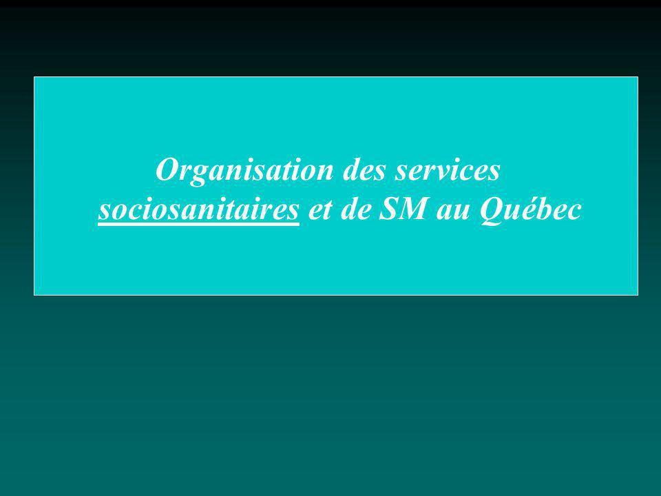 Organisation des services sociosanitaires et de SM au Québec