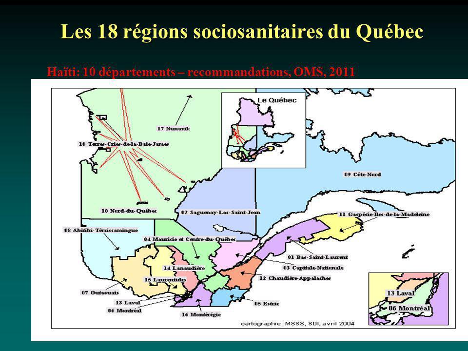 Les 18 régions sociosanitaires du Québec