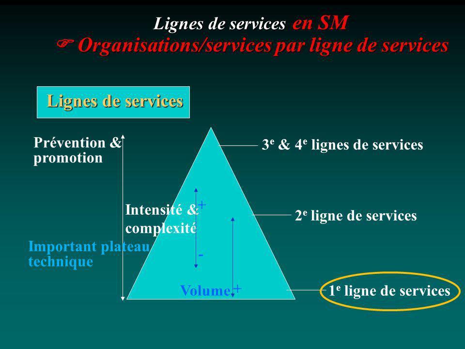 Lignes de services en SM  Organisations/services par ligne de services