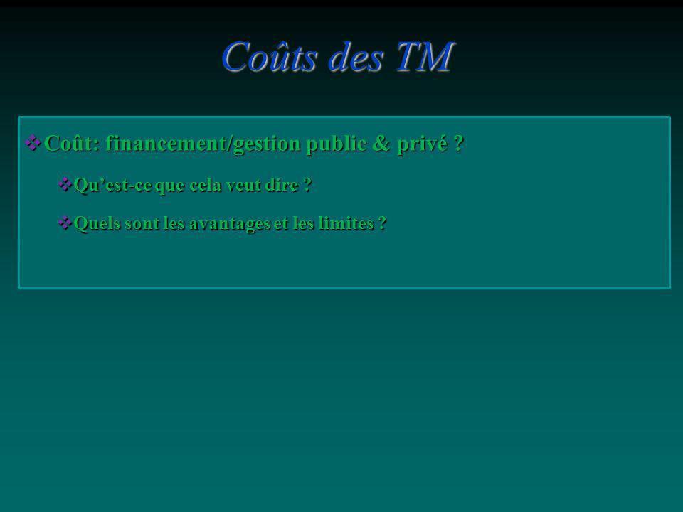 Coûts des TM Coût: financement/gestion public & privé