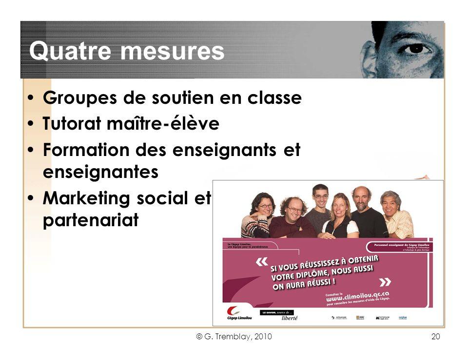 Quatre mesures Groupes de soutien en classe Tutorat maître-élève
