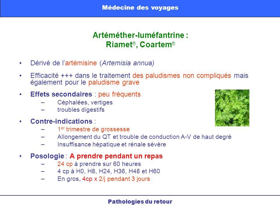 Artéméther-luméfantrine : Riamet®, Coartem®