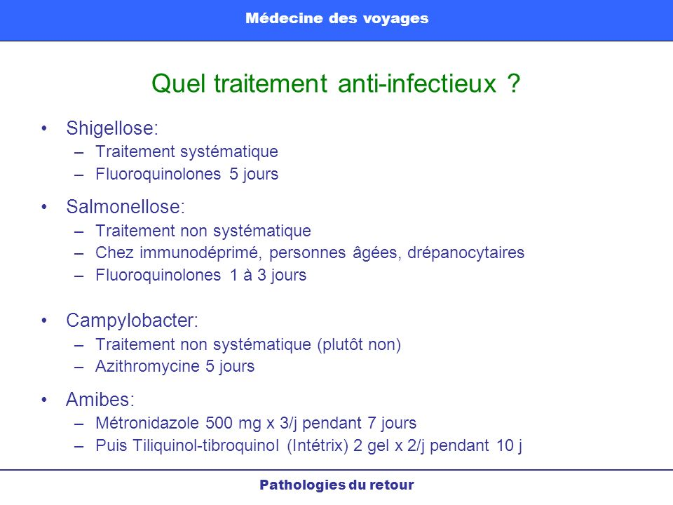 Quel traitement anti-infectieux