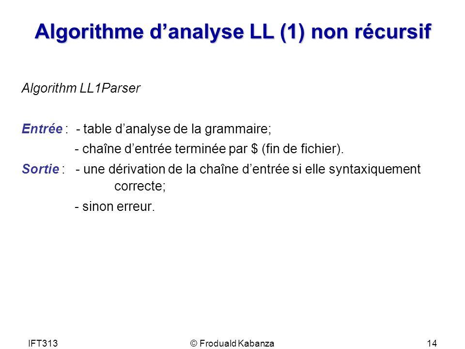 Algorithme d'analyse LL (1) non récursif