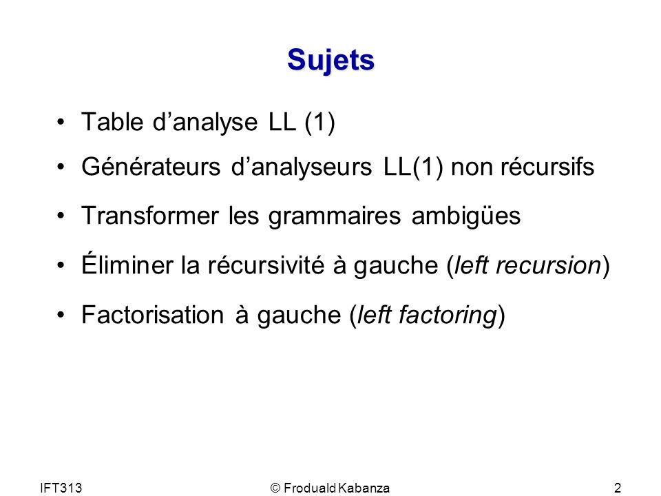 Sujets Table d'analyse LL (1)