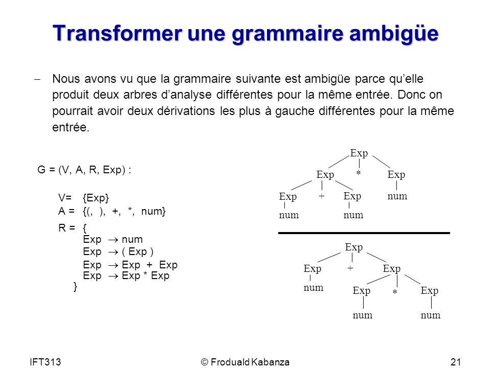 Transformer une grammaire ambigüe