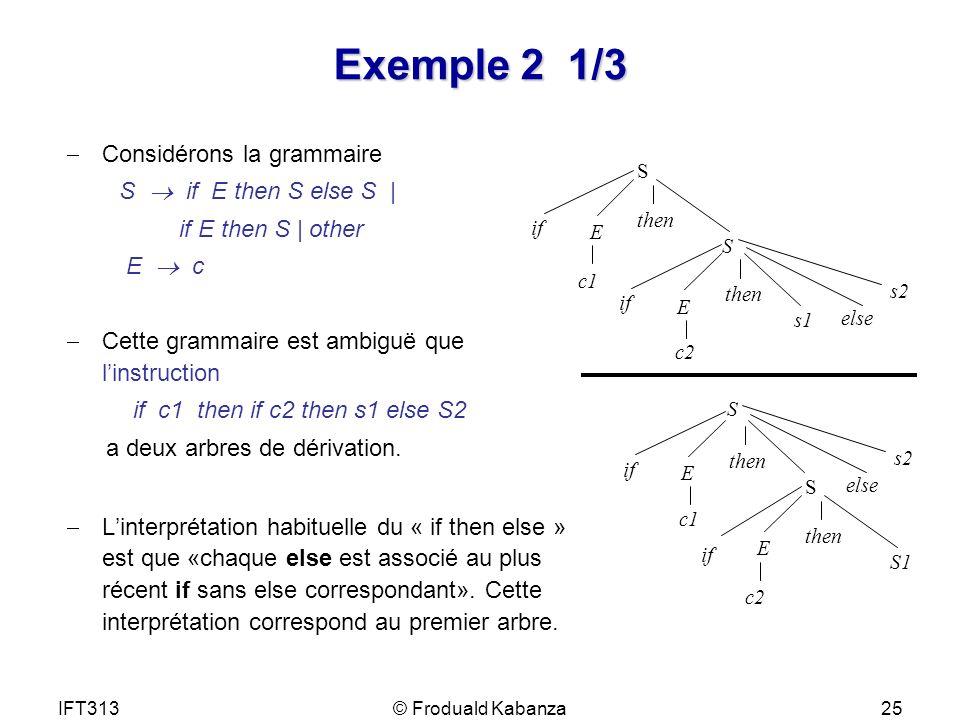 Exemple 2 1/3 Considérons la grammaire S  if E then S else S |