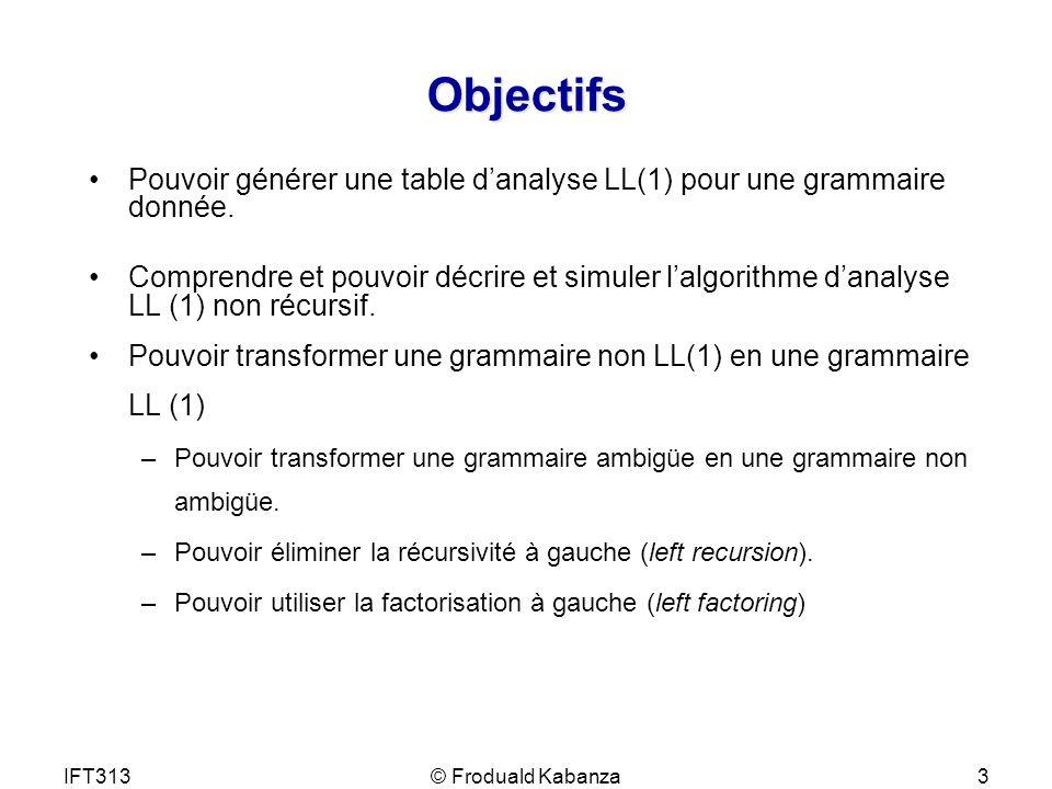 Objectifs Pouvoir générer une table d'analyse LL(1) pour une grammaire donnée.