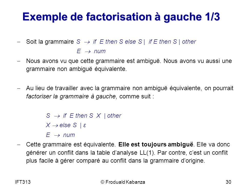 Exemple de factorisation à gauche 1/3