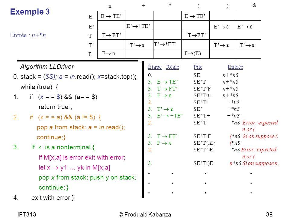 Exemple 3 . . . . Entrée : n+*n Algorithm LLDriver