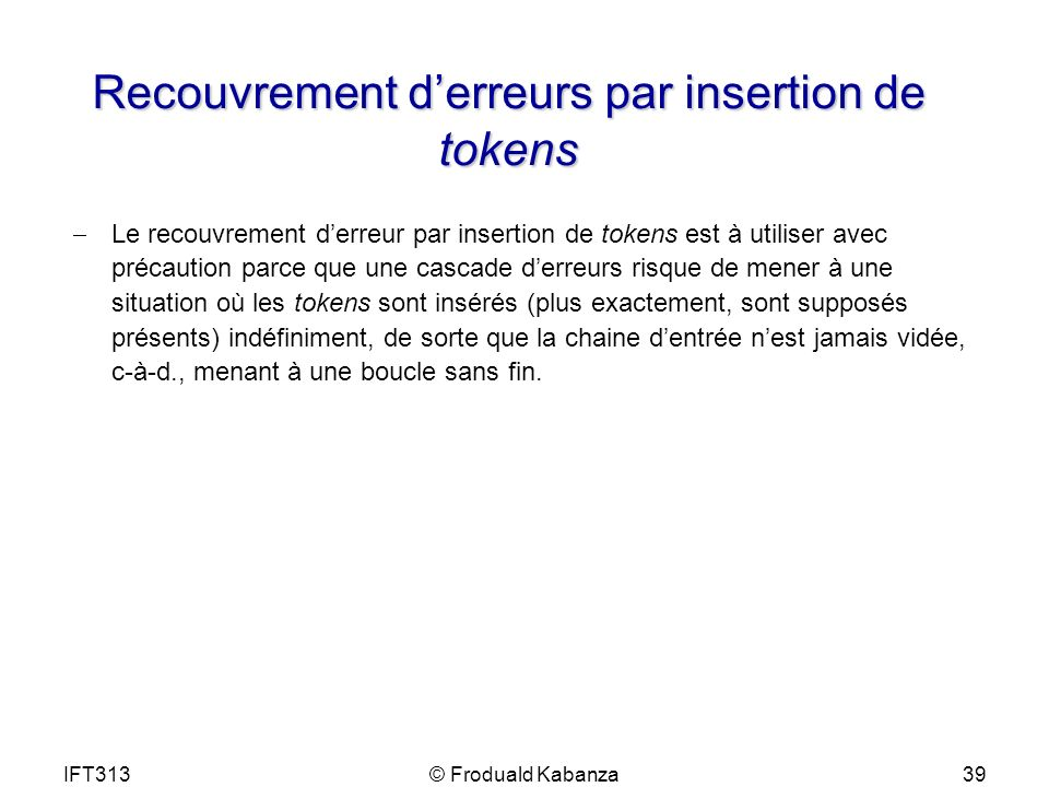 Recouvrement d'erreurs par insertion de tokens