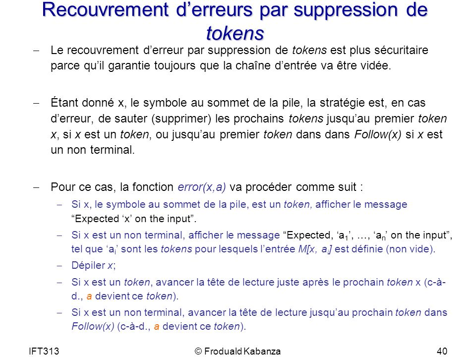 Recouvrement d'erreurs par suppression de tokens