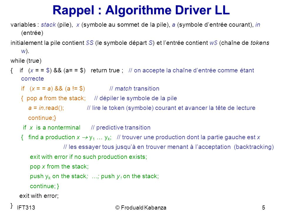 Rappel : Algorithme Driver LL