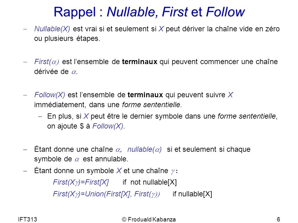Rappel : Nullable, First et Follow