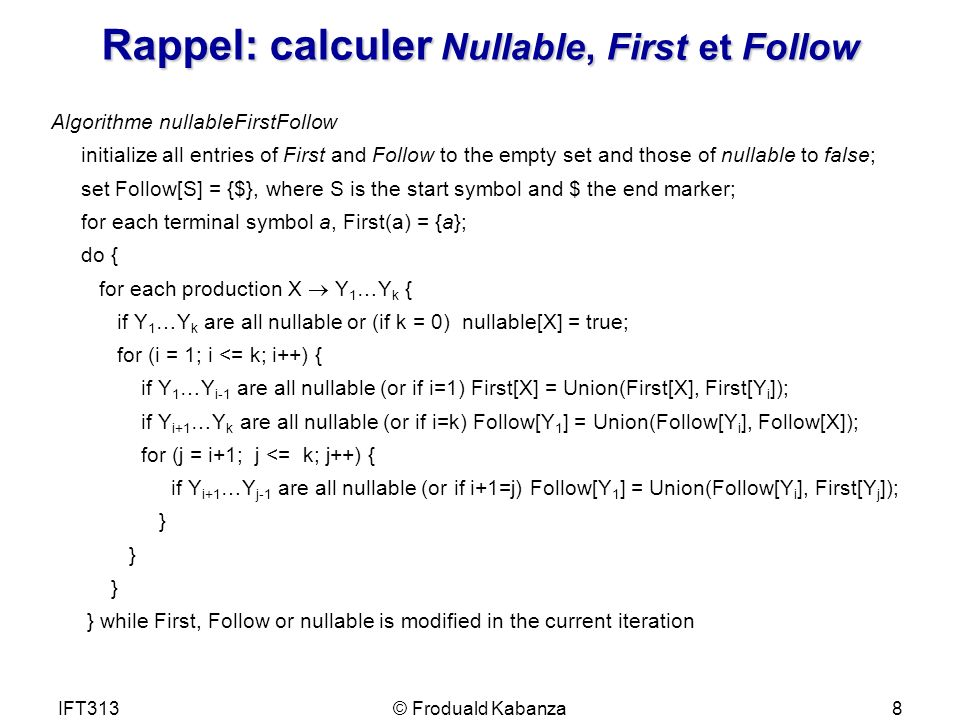 Rappel: calculer Nullable, First et Follow