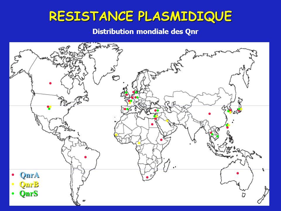 RESISTANCE PLASMIDIQUE Distribution mondiale des Qnr