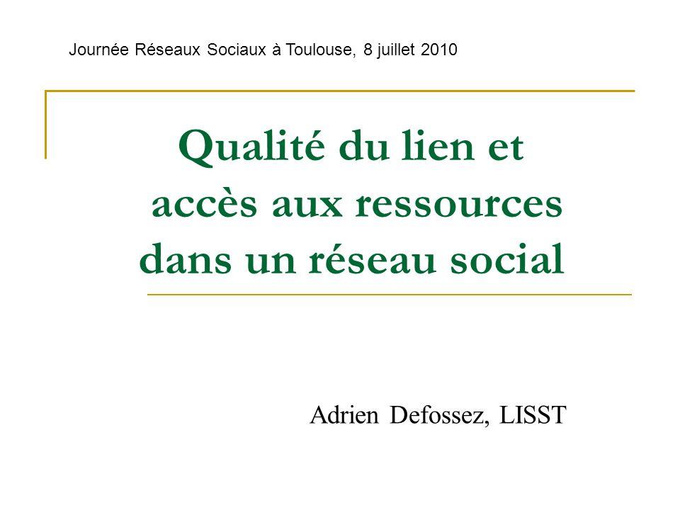 Qualité du lien et accès aux ressources dans un réseau social