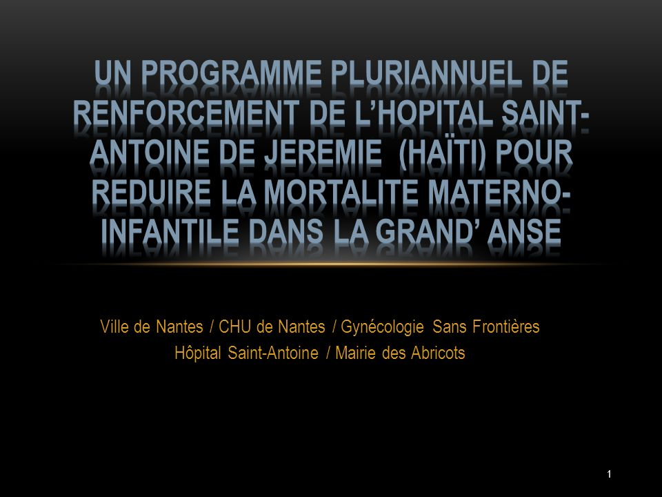 Un PROGRAMME pluriannuel DE RENFORCEMENT DE L'HOPITAL SAINT-ANTOINE DE JEREMIE (HAÏTI) POUR REDUIRE LA MORTALITE MATERNO-INFANTILE DANS LA GRAND' ANSE