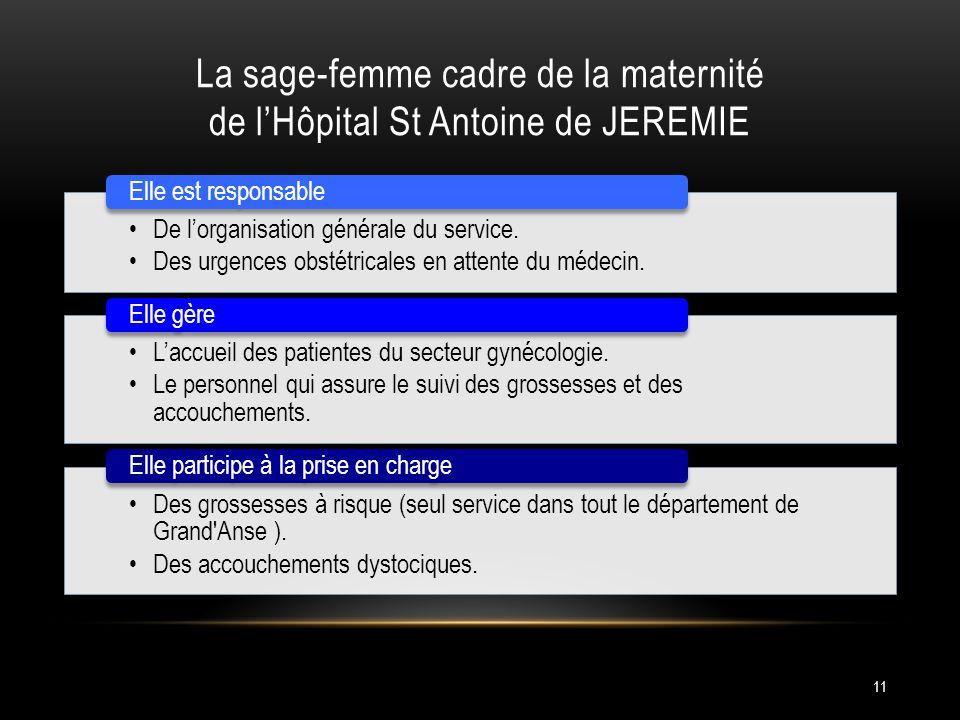 La sage-femme cadre de la maternité de l'Hôpital St Antoine de JEREMIE