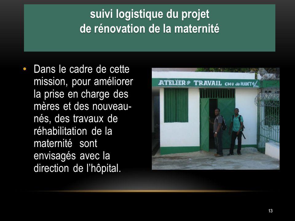 suivi logistique du projet de rénovation de la maternité