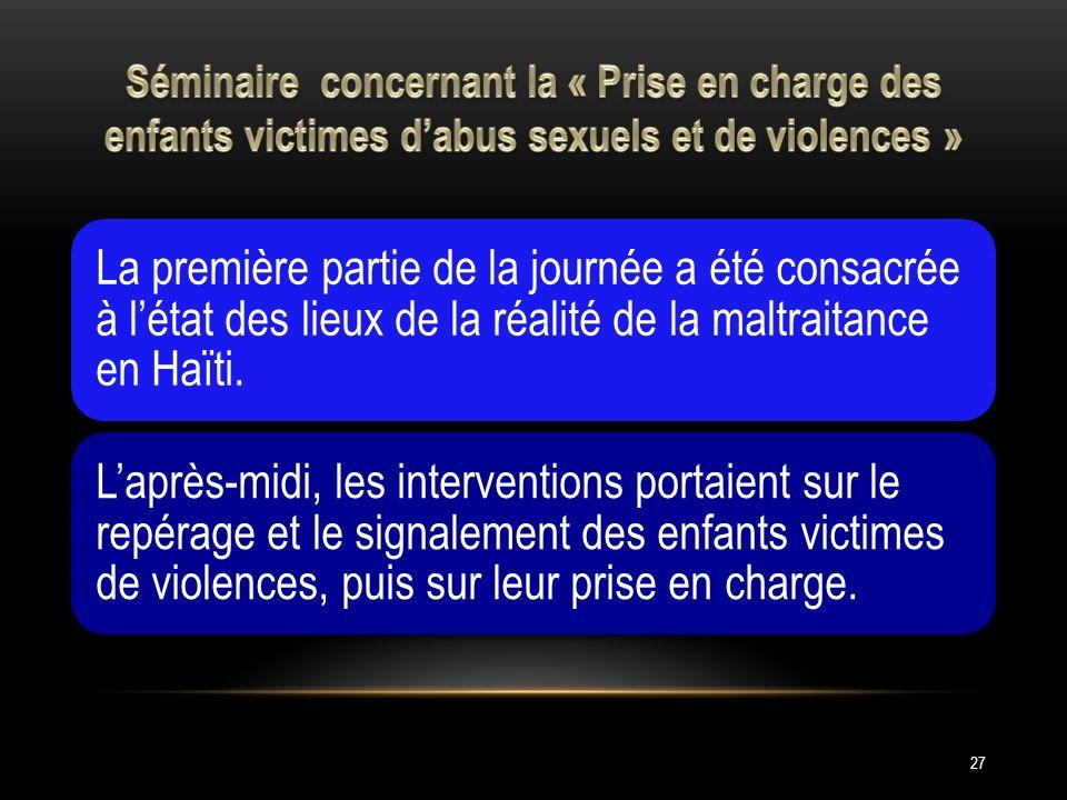 Séminaire concernant la « Prise en charge des enfants victimes d'abus sexuels et de violences »