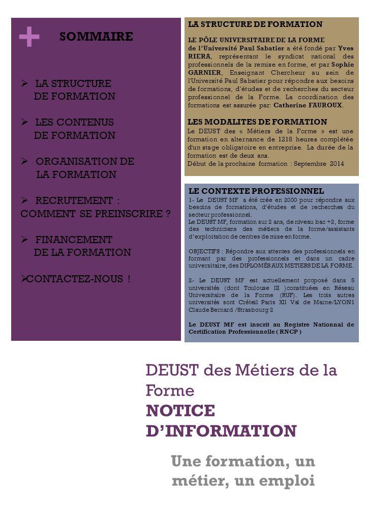 DEUST des Métiers de la Forme notice d'information