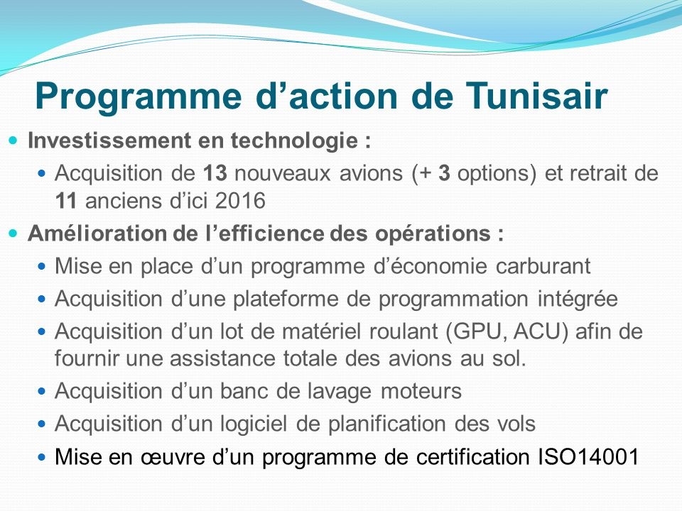 Programme d'action de Tunisair
