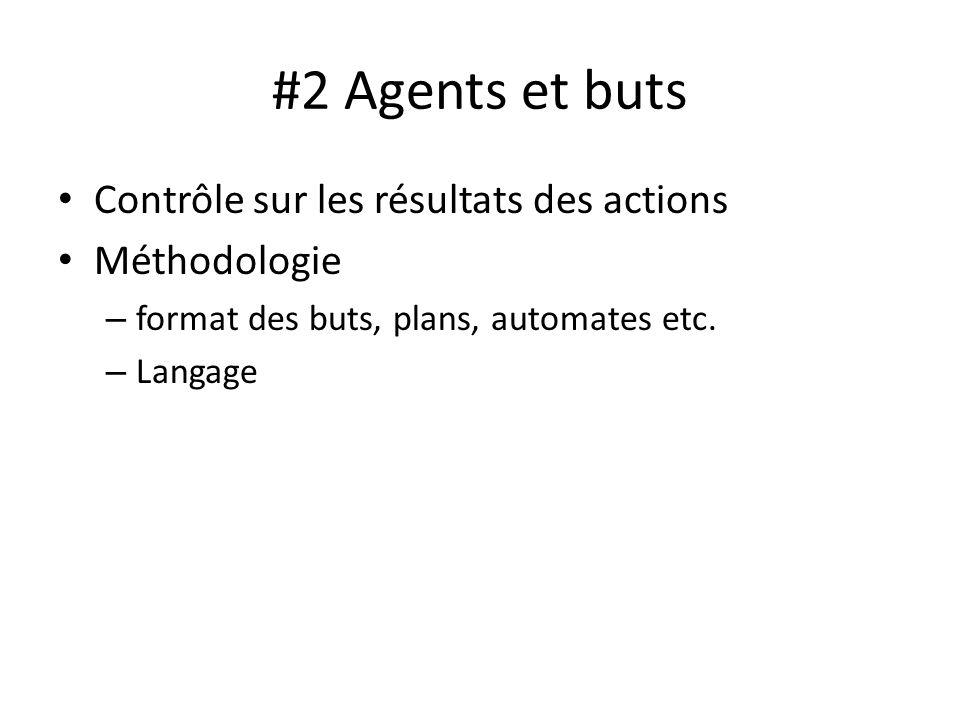 #2 Agents et buts Contrôle sur les résultats des actions Méthodologie