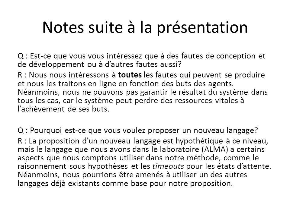 Notes suite à la présentation