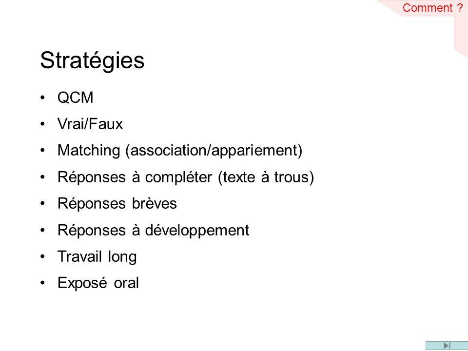 Stratégies QCM Vrai/Faux Matching (association/appariement)