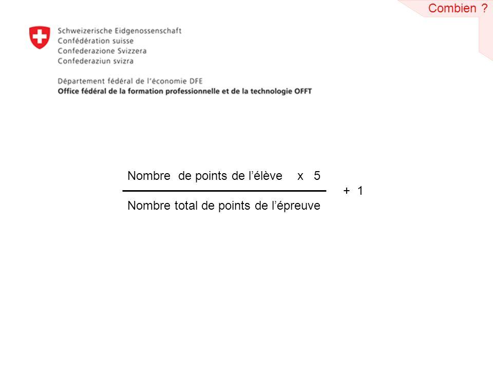 Combien Nombre de points de l'élève x 5 + 1 Nombre total de points de l'épreuve