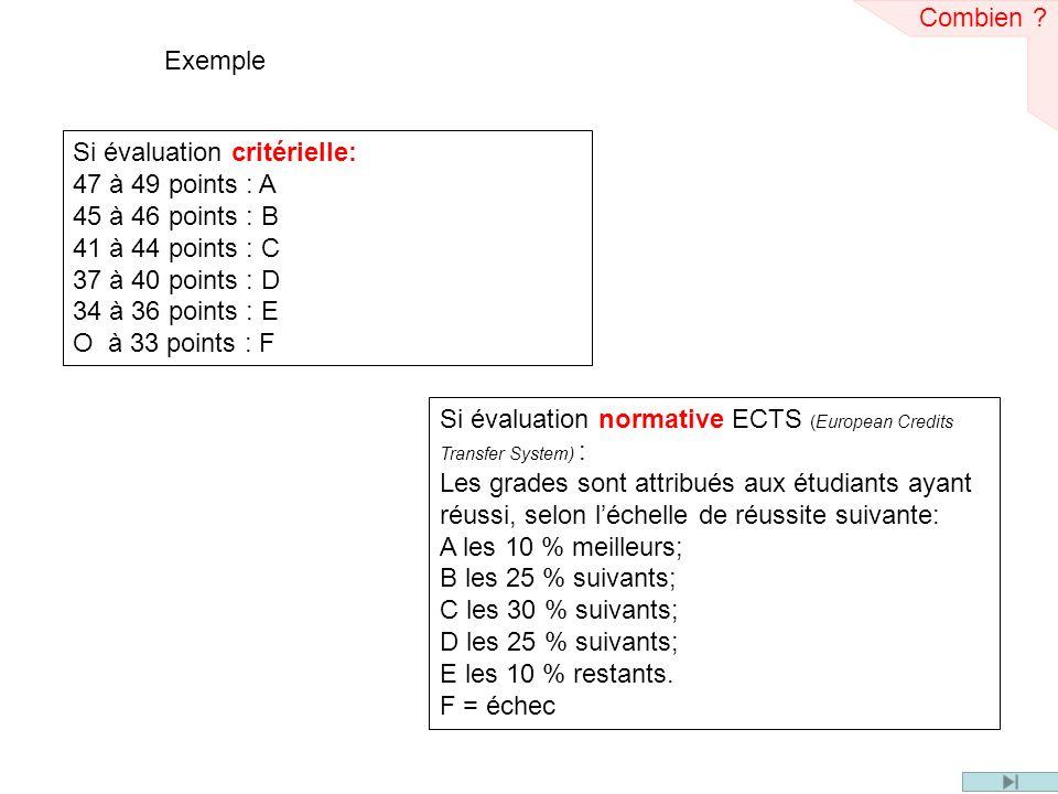Combien Exemple. Si évaluation critérielle: 47 à 49 points : A. 45 à 46 points : B. 41 à 44 points : C.