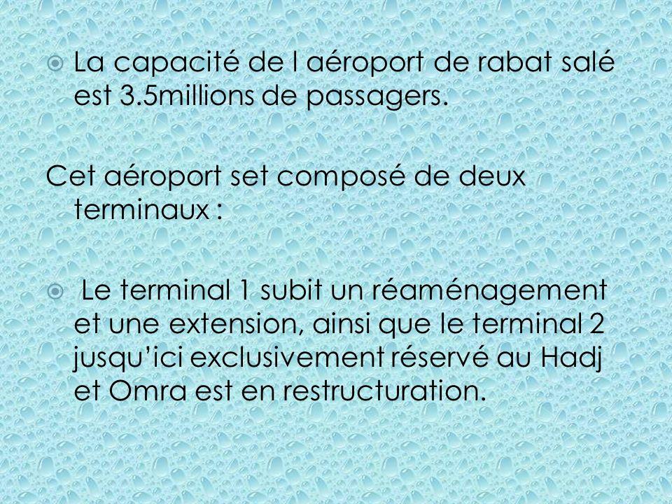 La capacité de l aéroport de rabat salé est 3.5millions de passagers.
