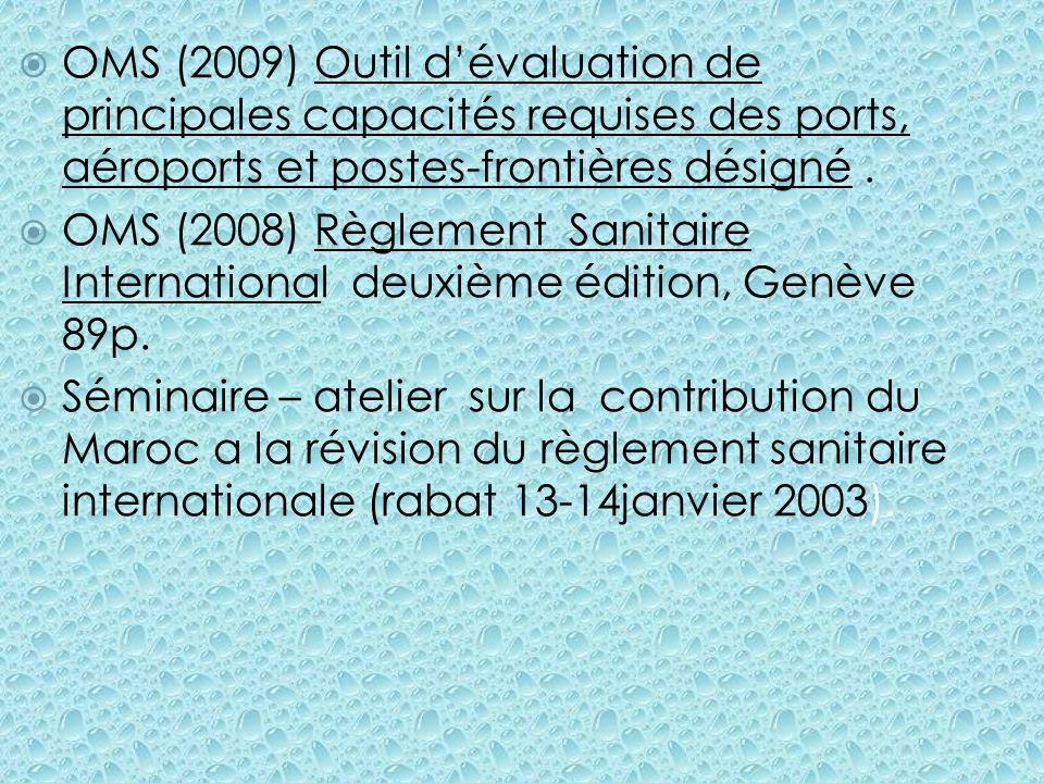 OMS (2009) Outil d'évaluation de principales capacités requises des ports, aéroports et postes-frontières désigné .