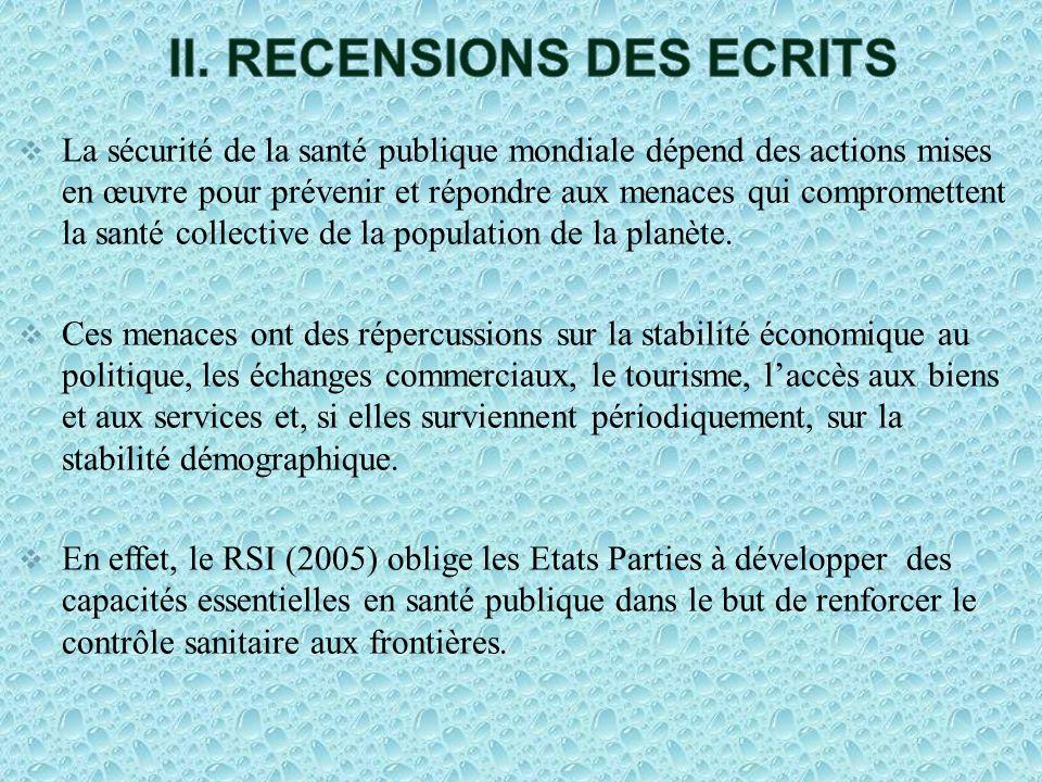 II. RECENSIONS DES ECRITS