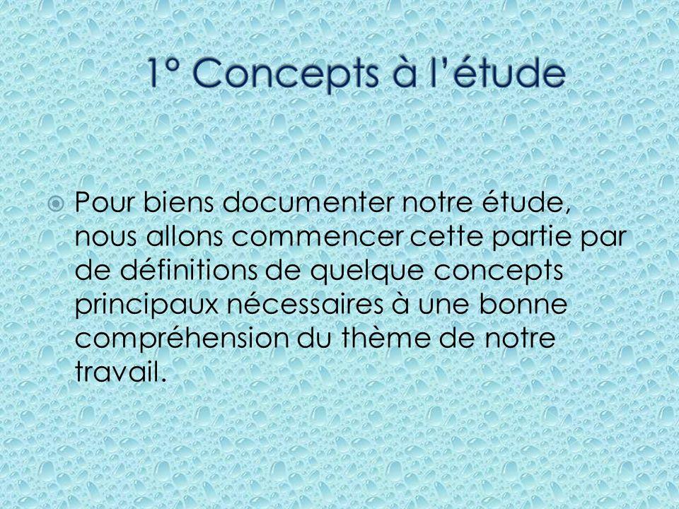 1° Concepts à l'étude