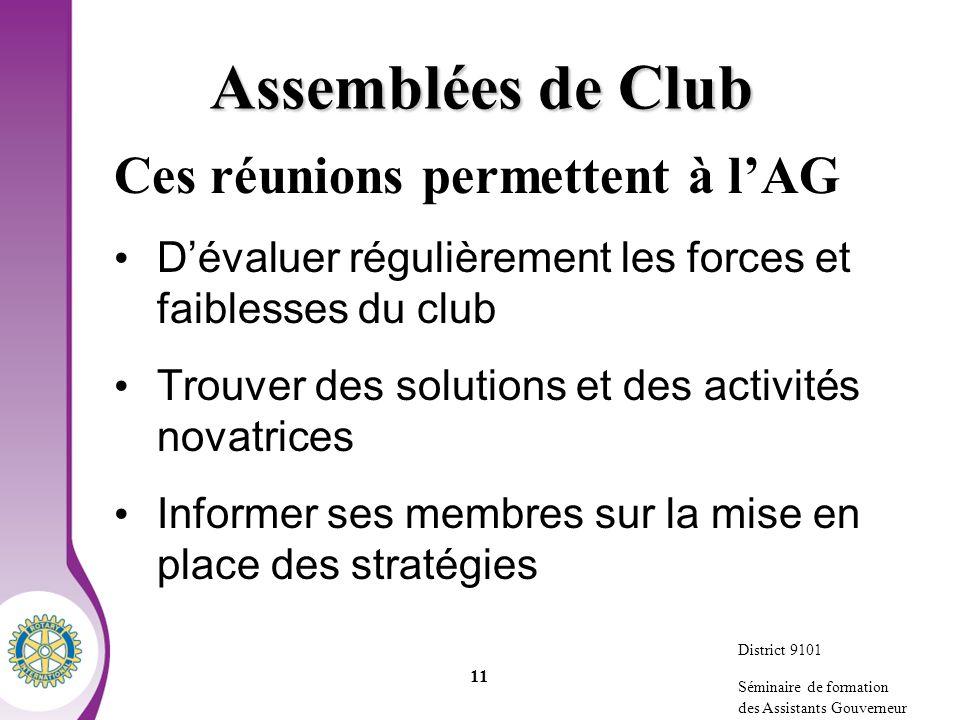 Assemblées de Club Ces réunions permettent à l'AG