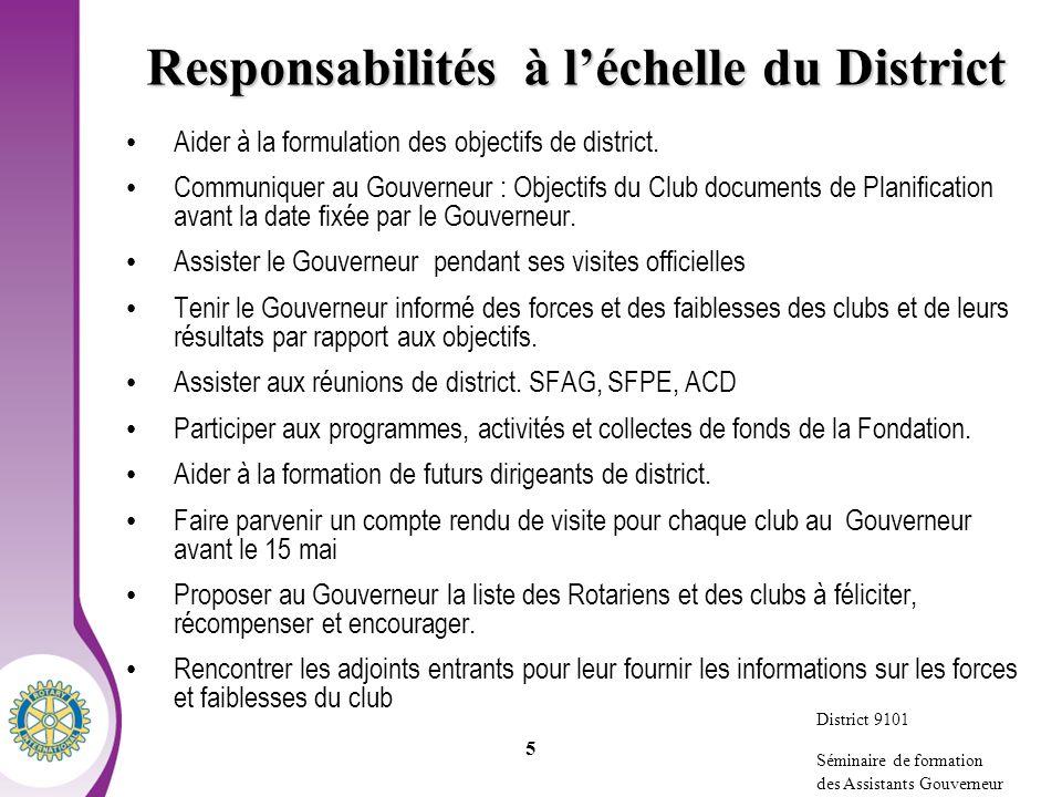 Responsabilités à l'échelle du District