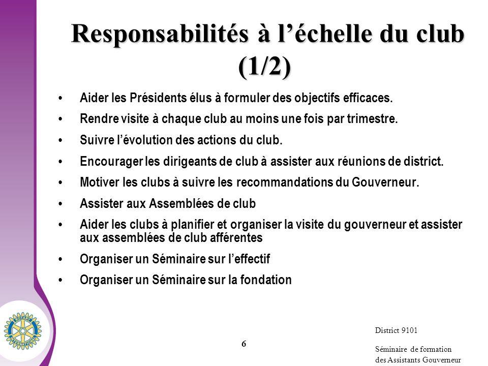 Responsabilités à l'échelle du club (1/2)